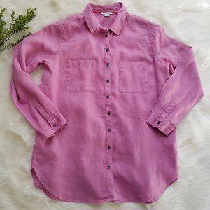 Boden Long Sleeve  Purple Linen Button Up Shirt